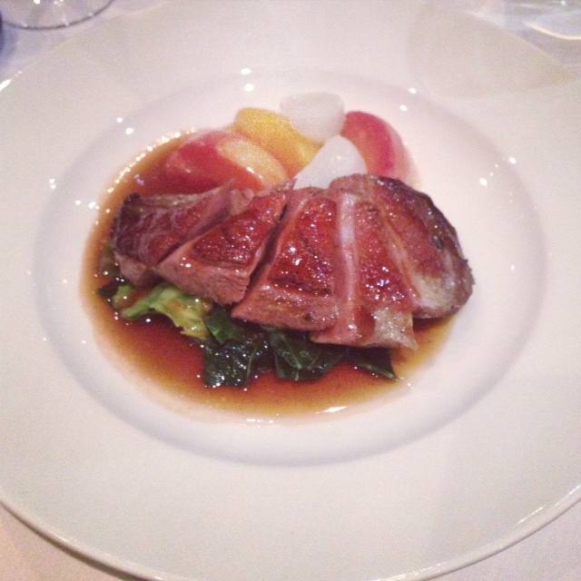 Roast Duck with Peaches and Turnips - Café 21