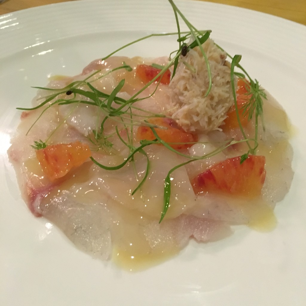 Seafood carpaccio at Artisan at The Biscuit Factory