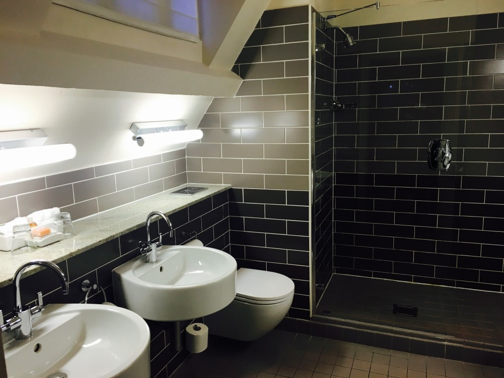 Image shows walk in shower and luxurious bathroom at Jesmond Dene House