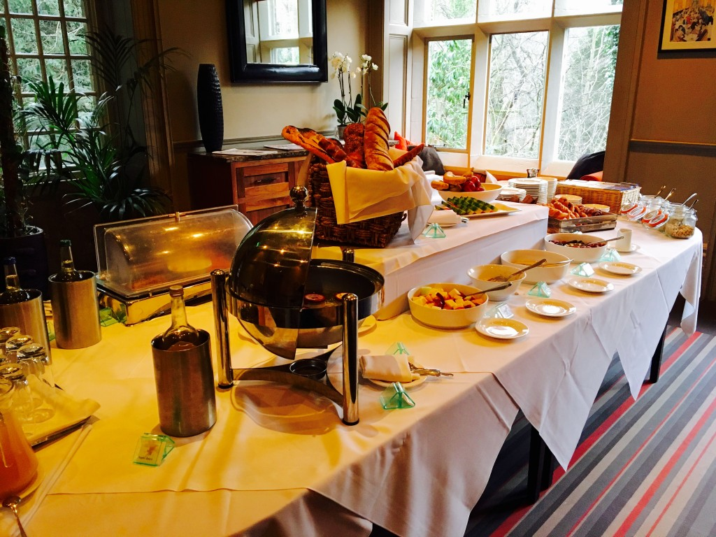 Breakfast buffet table at Jesmond Dene House