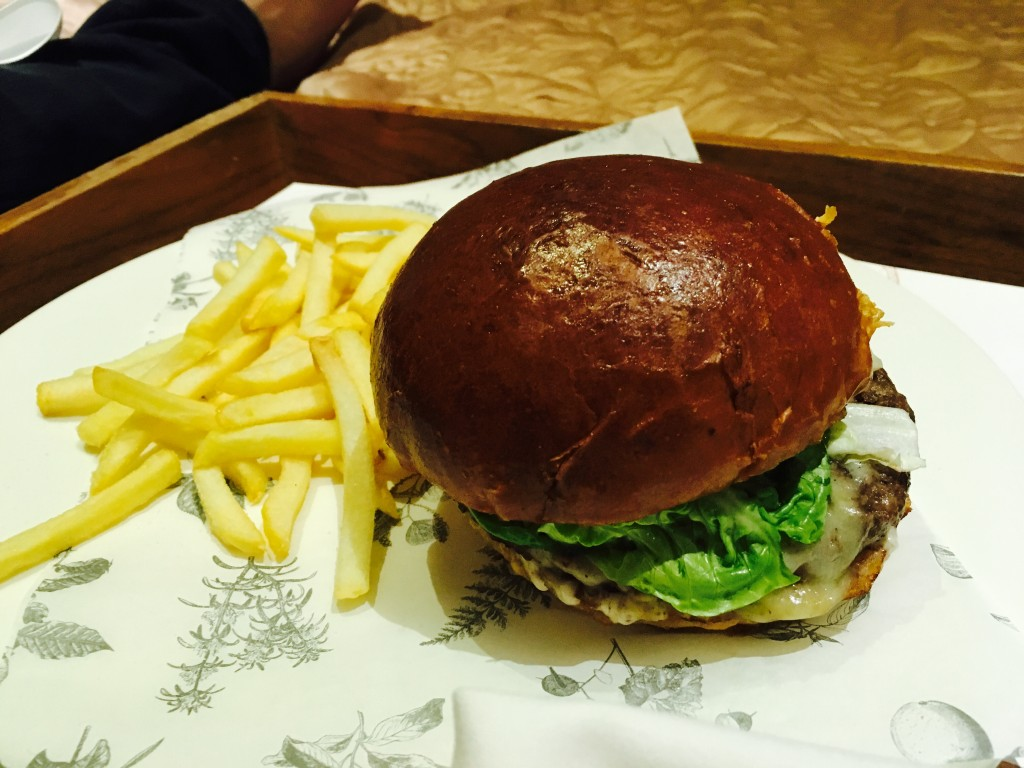 Image shows burger from room service menu at Jesmond Dene House