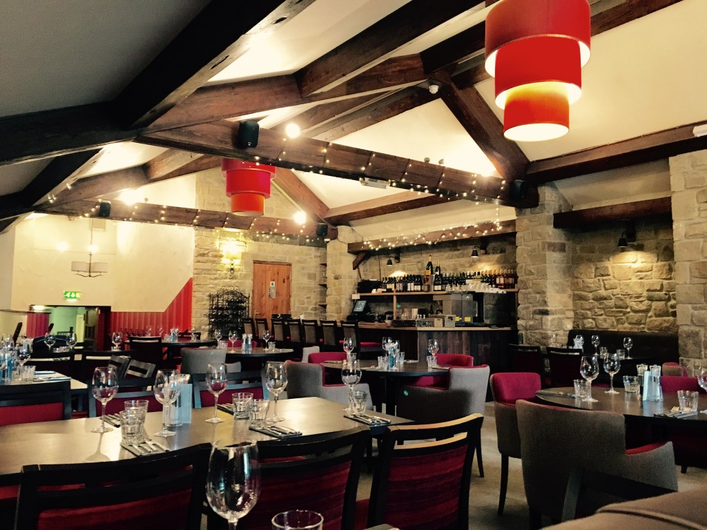 Image shows the stylish and contemporary restaurant at The Angel Inn, Corbridge