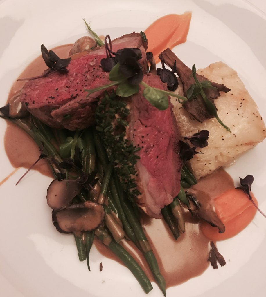 Image shows the roast rump of lamb main course at Marco Pierre White Newcastle