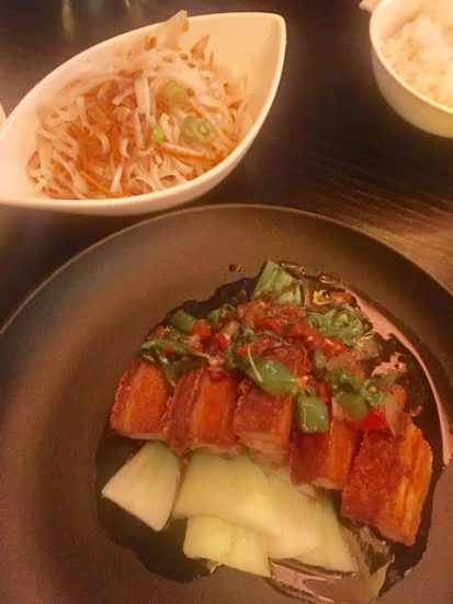 Crispy belly pork and noodles at Chaophraya Newcastle