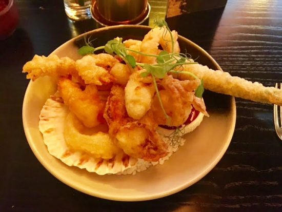 Prawn and soft shell tempura at Chaophraya Newcastle
