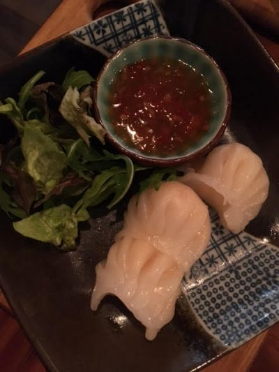 Prawn dumplings with Sweet Chilli dipping sauce at Meet and Treat