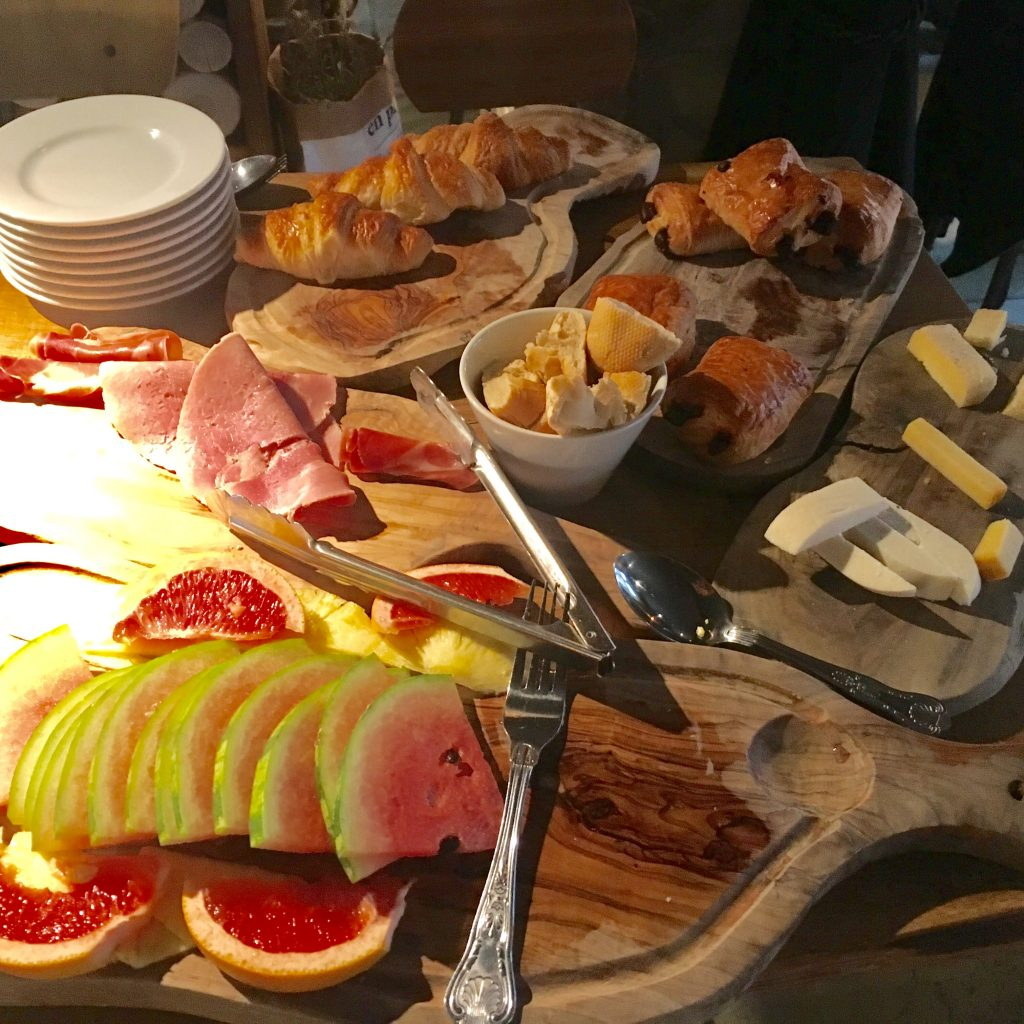 The breakfast spread at Le Petit Chateau