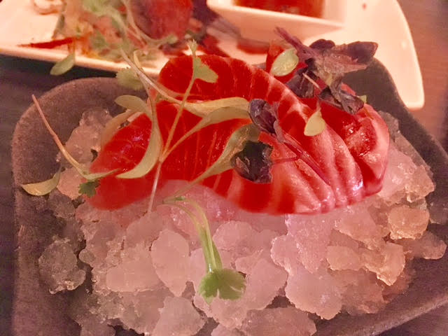 Salmon sashimi at Aveika Newcastle