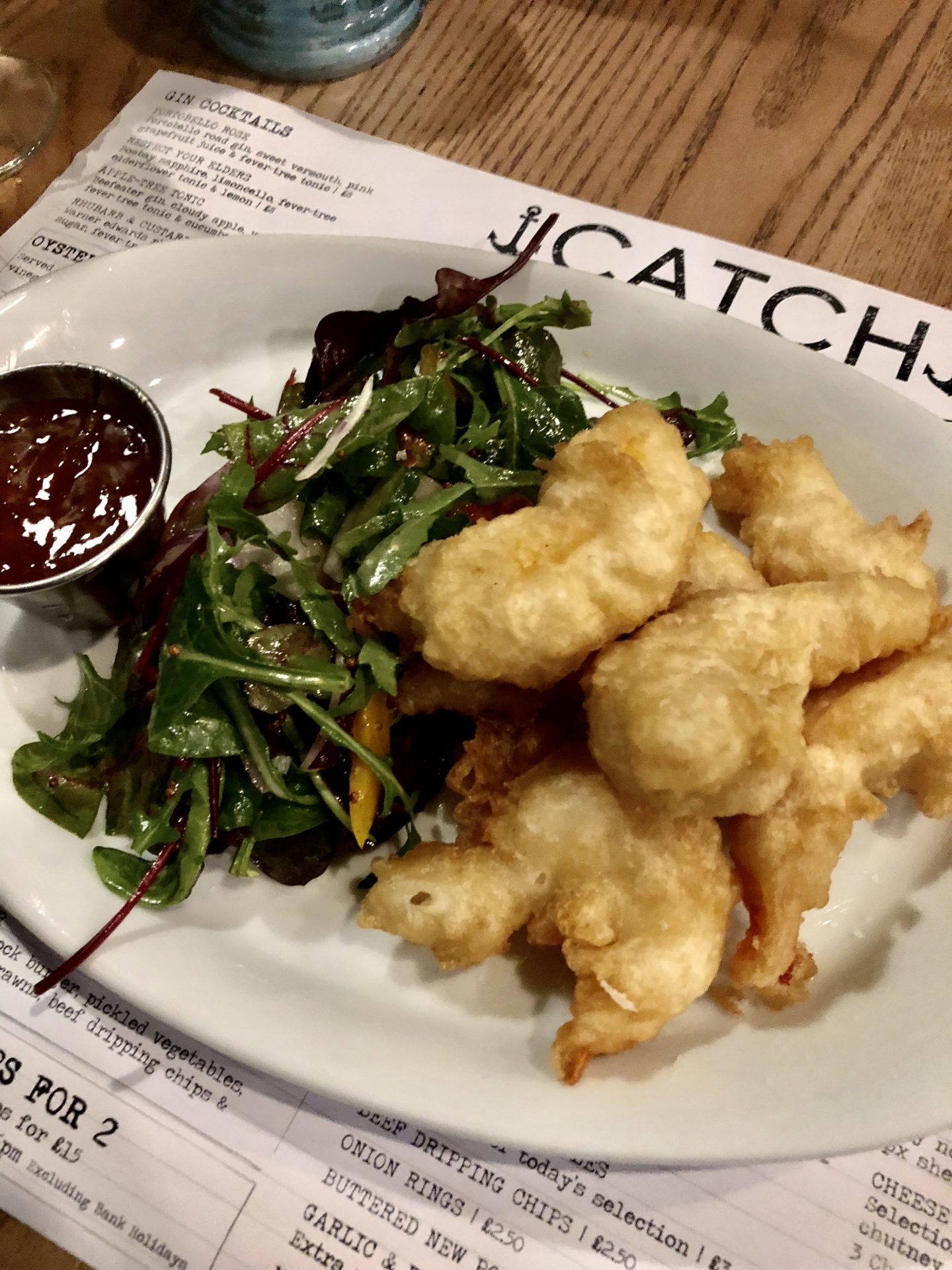 Beer battered prawns at Catch Ponteland